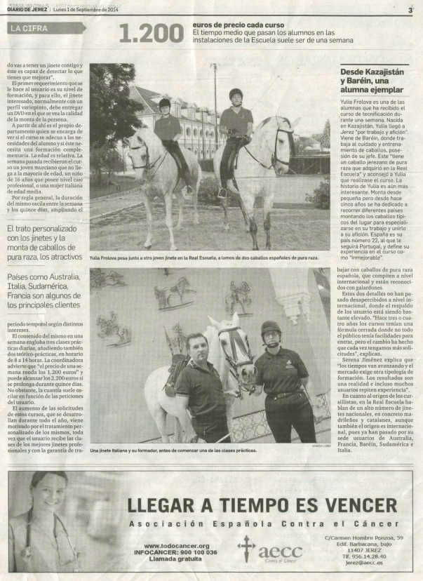 Diario de Jerez newspaper, Spain, September'14