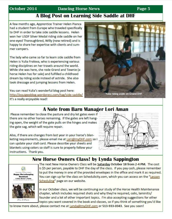 Dancing Horse News, USA, October 2014