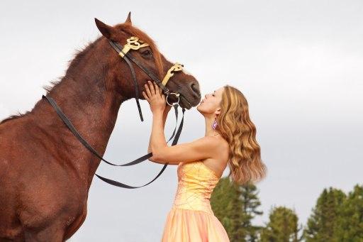 Olga with her mare Raketa