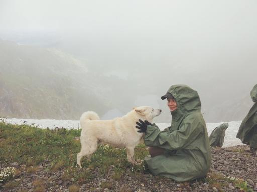 With Buran, Uncle Sasha's bear hunting dog