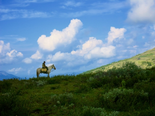 Uncle Sasha riding Mongol
