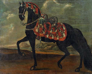 "A black stallion performing a ""piaffe"". Picture taken from' http://www.christies.com/lotfinder/paintings/workshop-of-johann-georg-de-hamilton-a-black-4958424-details.aspx"